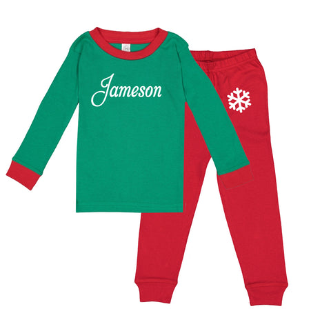 Personalized Snowflake Pajama Set - Green and Red