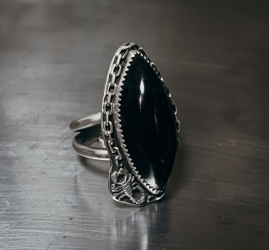 Onyx and scorpion ring- Size 9