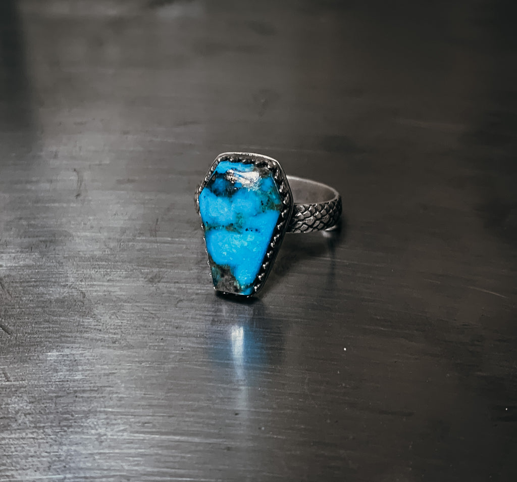 Coffin an snakeskin ring- Size 8