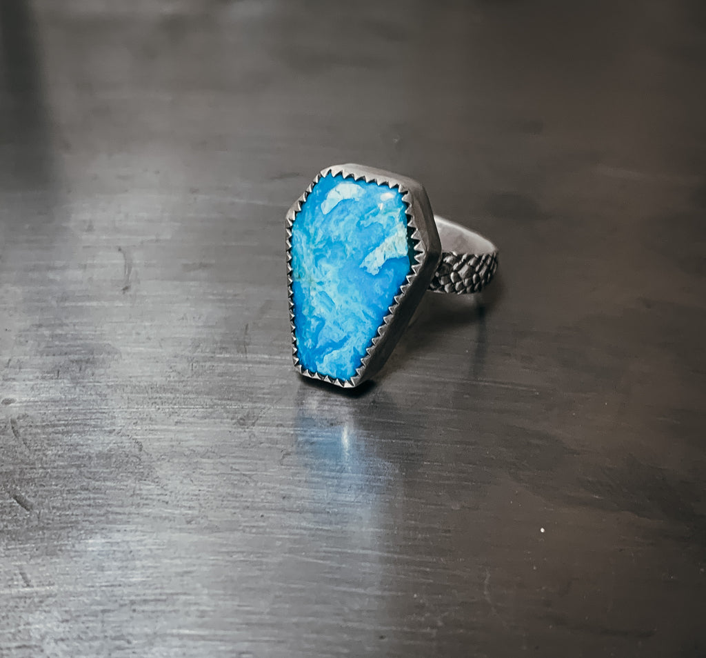 Kingman Coffin and snakeskin ring- Size 7