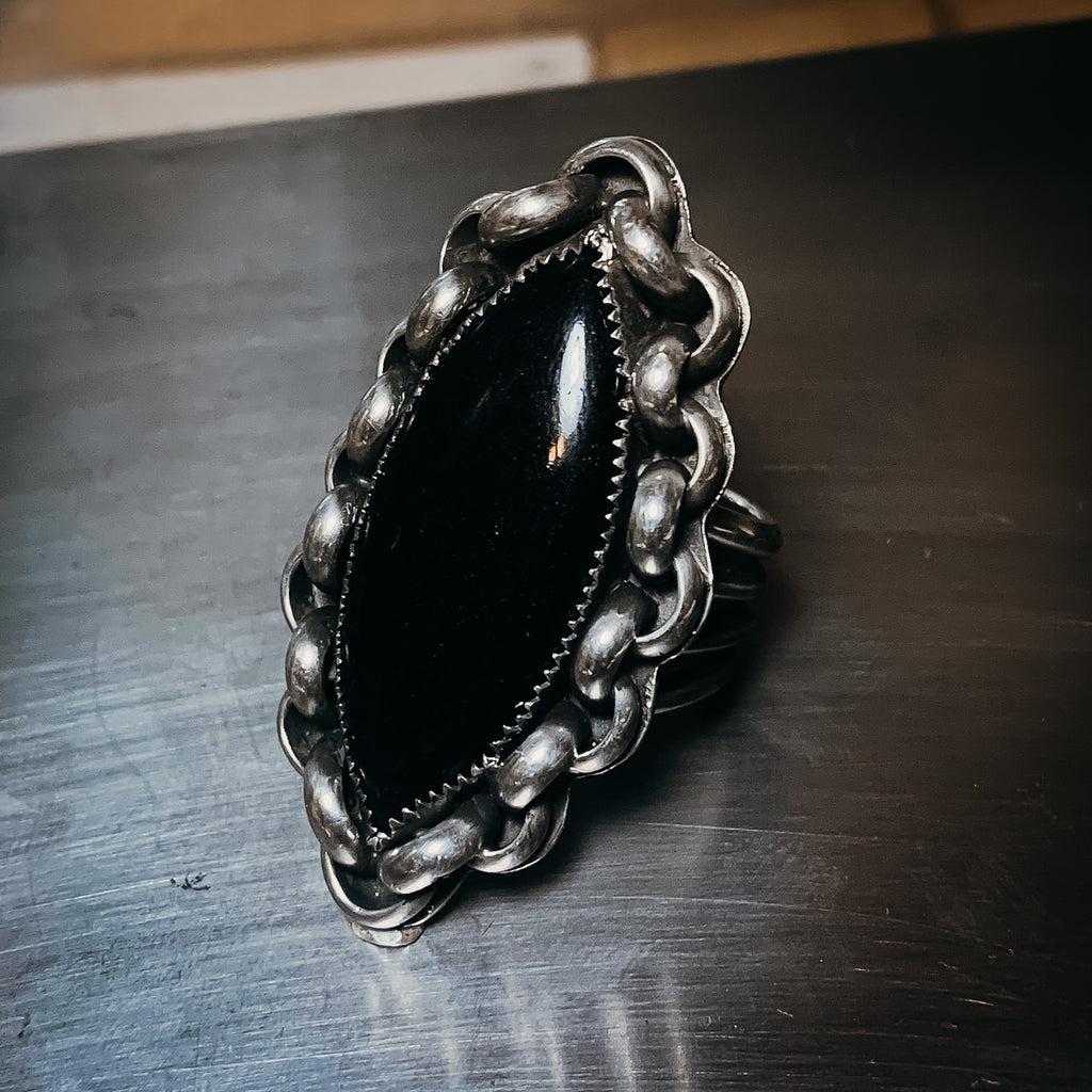 Gold sheen obsidian ring size 10