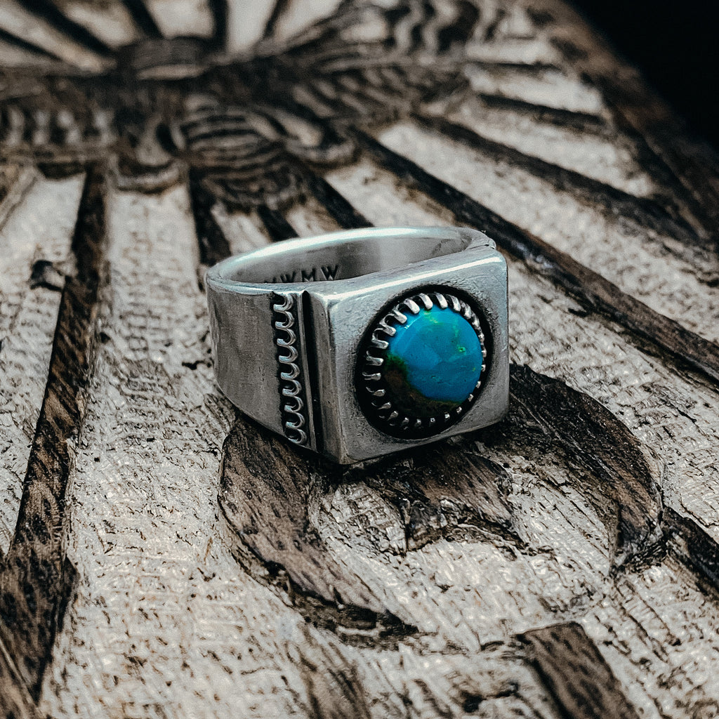 Turquoise signet ring- size 9