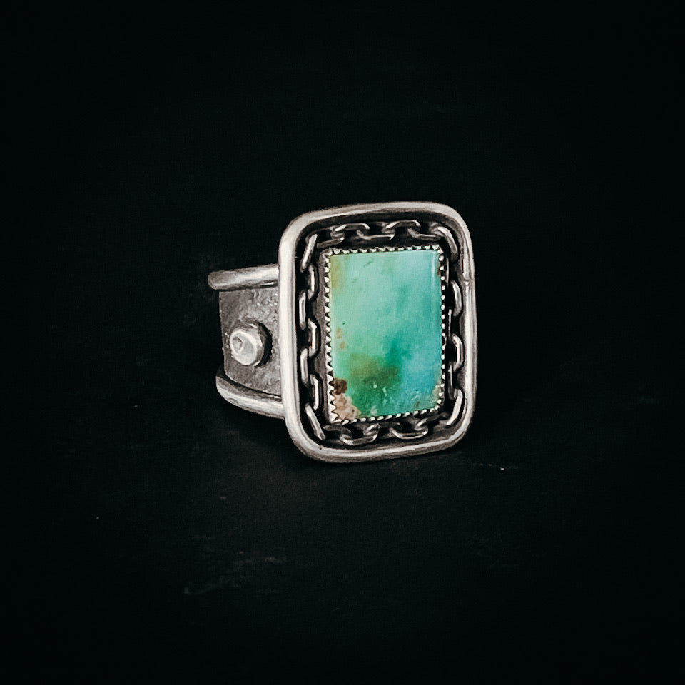 Turquoise and chain ring- size 12