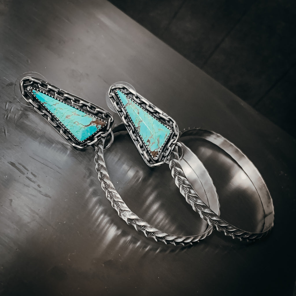 Turquoise and chain hoops