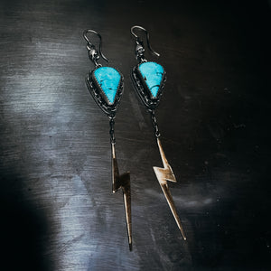 Skull and bolt earrings