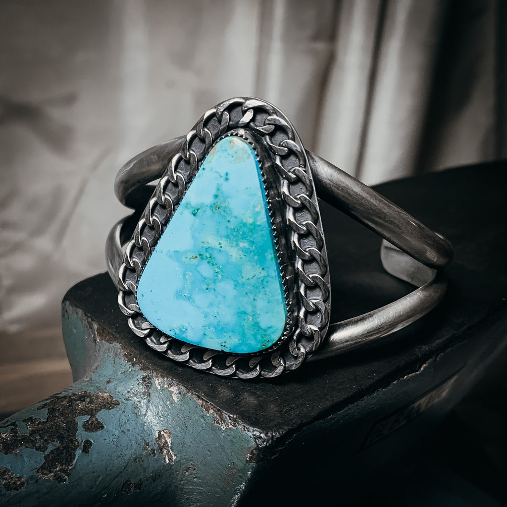 Turquoise and chain cuff