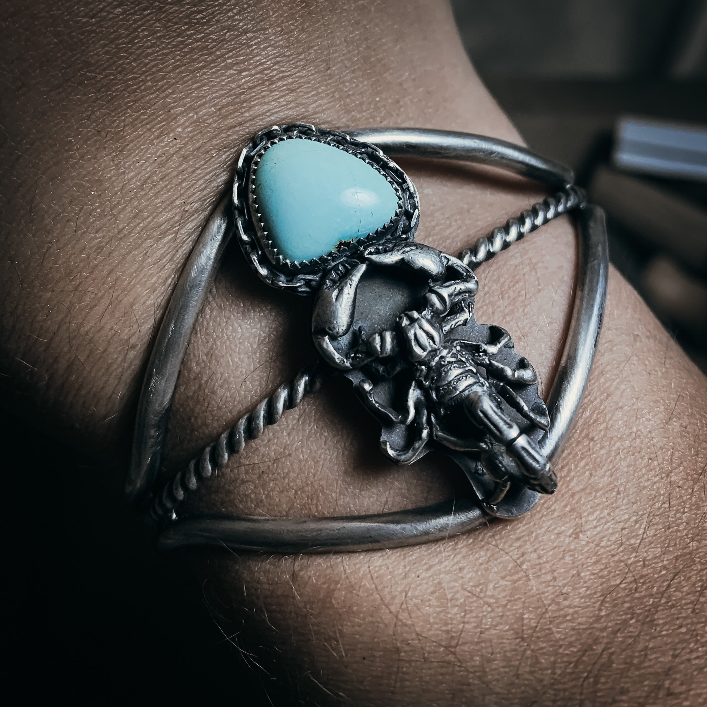 Scorpion and turquoise cuff