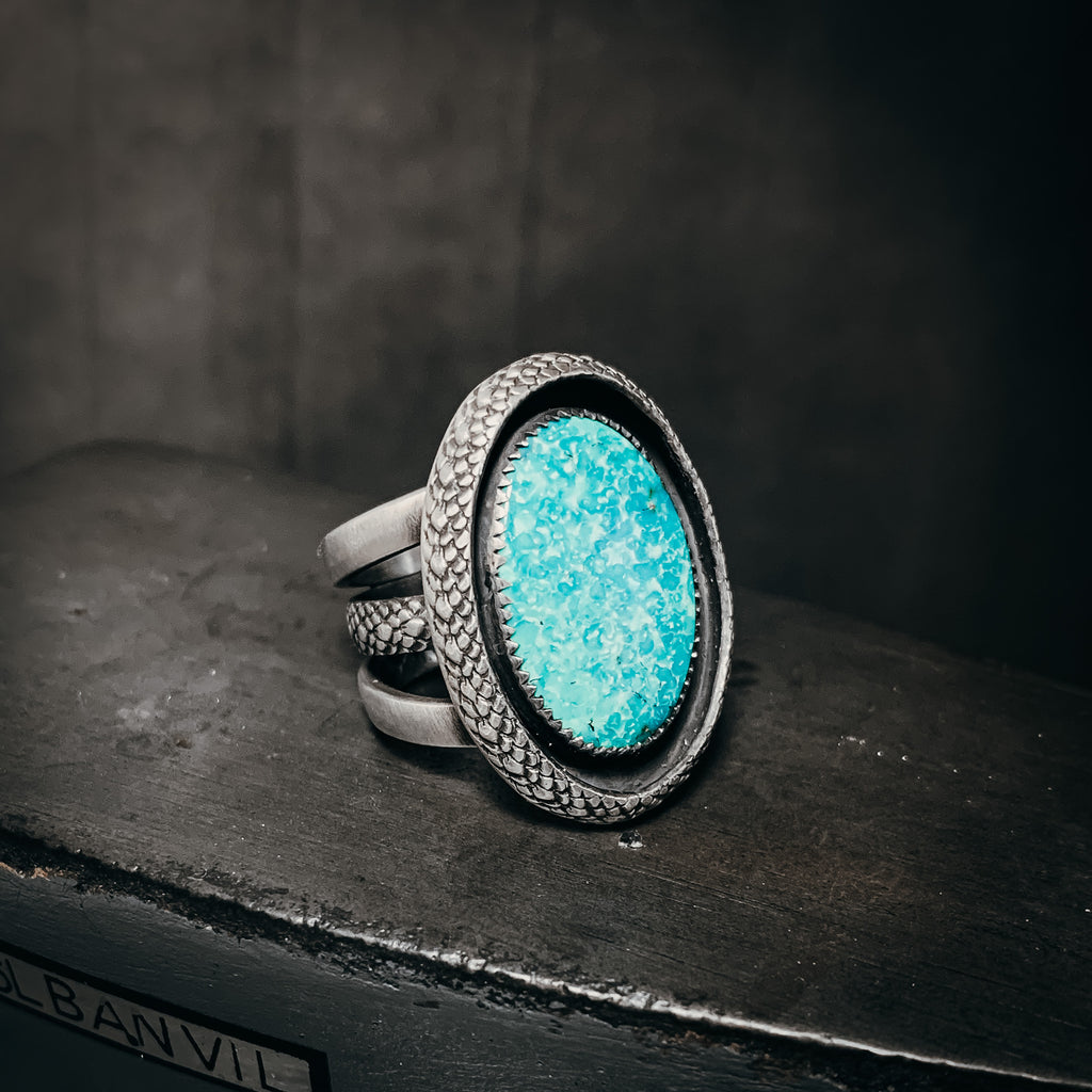 White water turquoise and snakeskin ring size 7
