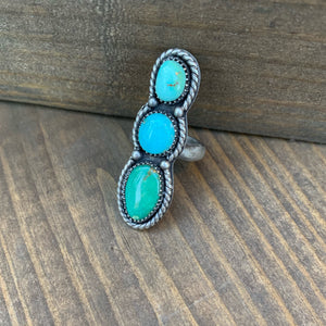 Size 8 triple ombré turquoise ring