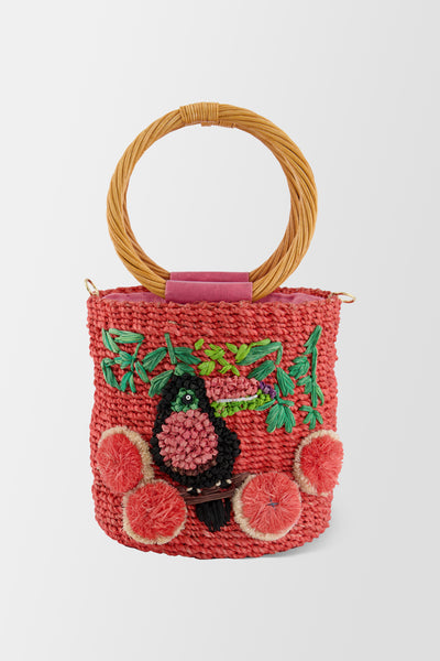 Serpui Lauren Toucan handbag Coral
