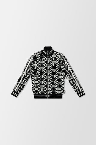 Philipp Plein Knit Jacket All Over PP White