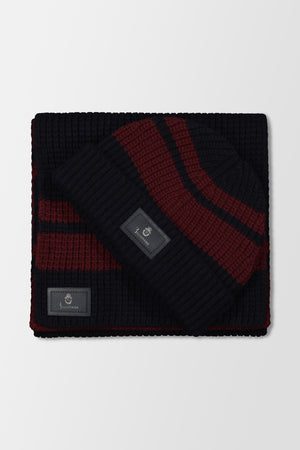Billionaire Beanie Stripes Two-Tone Dark Blue/Bordeaux