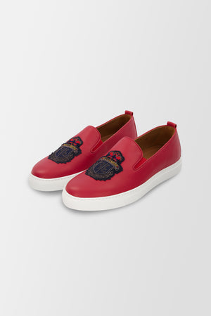 Billionaire Slip On Crest shoes Red
