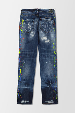 Philipp Plein Super Straight Cut Painted jeans Miss You