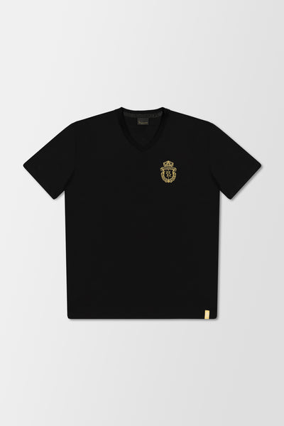 Billionaire Polo V-Neck T-Shirt Crest Black