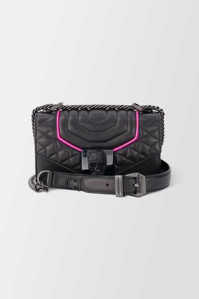 Philipp Plein Shoulder Bag Skull Crystal Black+Fuchsia