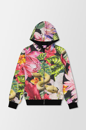 Philipp Plein Hoodie Sweatjacket Flowers Black