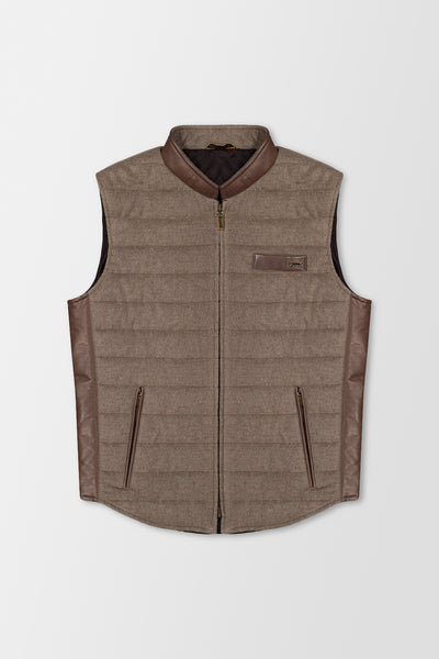 Zilli Vest wool & silk w/ leather Grey