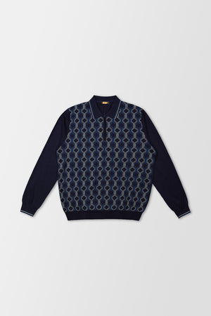 Zilli Polo Long-Sleeve Shirt Navy