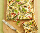 Stilton, Red Pepper and Asparagus Flan with Poppy Seed Pastry