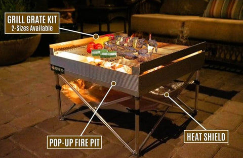 NEW FireSide Pop-Up Pit & Heat Shield & Qua-fold Grill Grate