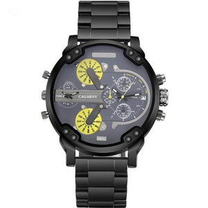 Cagarny Dual Display Luxury Sport Quartz Clock Gold Steel Watch