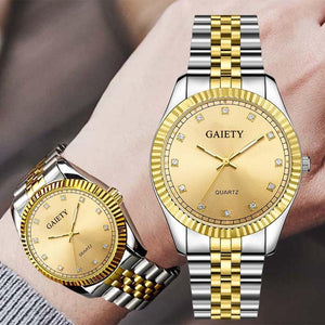 Gaiety Fashion Diamond Watch Stainless Steel Band Quartz Wristwatch Luxury Gold Silver Business Watch
