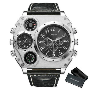 Oulm Cool Military Quartz Python Grain Leather 2 Time Zone Dial Watch - MoniiGarmenx