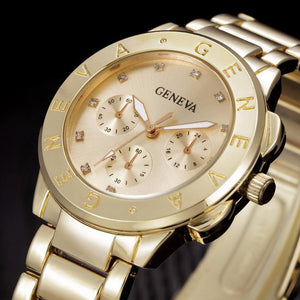 Geneva Brand Rose Gold Casual Quartz Stainless Full Steel Crystal Dress Watch