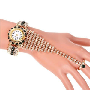 Heluoshan Top Brand Luxury Clock Rhinestone Bracelet Watch - MoniiGarmenx