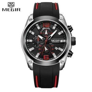 MEGIR Top Brand Chronograph Waterproof Silicone Sport Watch - MoniiGarmenx