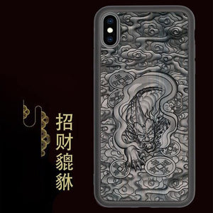 iPhone 6 6S 7 8 Plus X 11 Pro Max Luxury Wood 3D Relief Fundas TPU+Ebony XS Max Cover Case