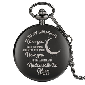 "Yisuya Unique Family Gifts Customized Greeting ""I LOVE YOU"" Theme Quartz Pocket Chain Watch"
