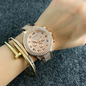 Contena Luxury Brand Rosy Gold Ladies Diamond Quartz Analog Wrist Watch - MoniiGarmenx