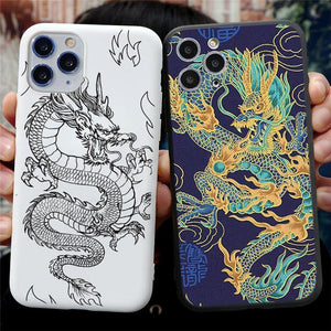 Dragon Matte Phone Case For Apple iPhone 12 Mini 11 Pro XS MAX X XR 10 8 6 6S 7 Plus 5 5S SE 2020 - MoniiGarmenx