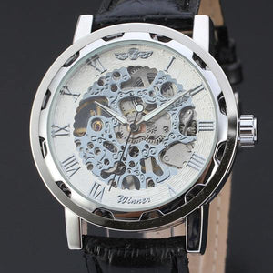 WINNER Skeleton Hollow Fashion Mechanical Hand Wind Luxury Business Leather Strap Watch
