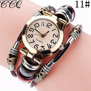 CCQ Brand Fashion Vintage Cow Leather Bracelet Watches Casual Crystal Quartz Watch - MoniiGarmenx