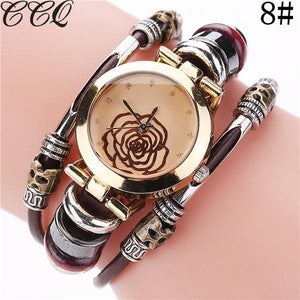 CCQ Brand Fashion Vintage Cow Leather Bracelet Watches Casual Crystal Quartz Watch