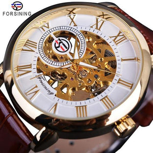 Forsining 3d Logo Design Hollow Engraving Black Gold Case Leather Skeleton Mechanical Watch