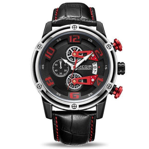 MEGIR Creative Sport Leather Chronograph Quartz Wristwatch Army Military Watch