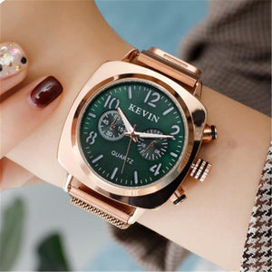 Kevin Square Magnetic Stainless Steel Rose Gold Waterproof Watch
