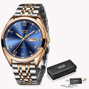 LIGE Rose Gold Business Quartz Top Brand Luxury Wristwatch Clock Watch