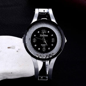 XINHUA Fashion Stainless Steel Bracelet Bangle Rhinestone Luxury Clock Watch