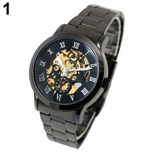SANWOOD Luxury Roman Numerals Tungsten Steel Mechanical Skeleton Wrist Watch