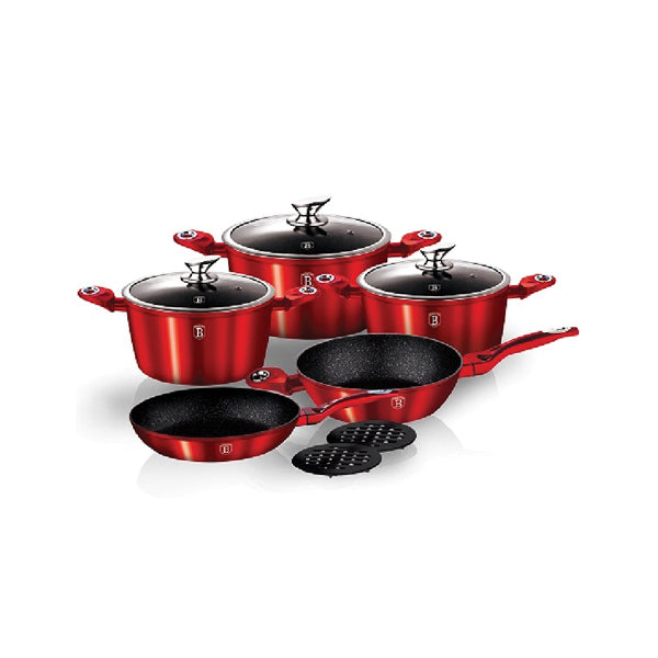 Häfele 10-pc Cookware Set In Burgundy Metallic CW-1222 - Häfele Home Malaysia