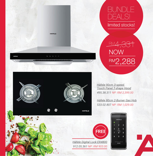 Häfele 90cm 9-Speed Touch Panel T-Shape Hood + Häfele Gas Hob HC-GH802A + Häfele Digital Lock ER4800 - Häfele Home Malaysia