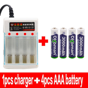 Rechargeable Battery Charger + 3000mah AAA Battery Pack