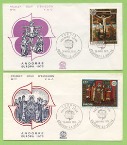 Andorra (French) 1975 Europa. Paintings from La Cortinada Church set on two First Day Covers