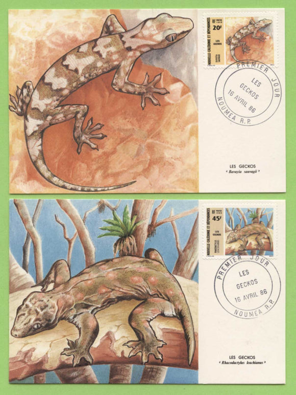 New Caledonia 1986 Geckos set of Maximum Cards, FDI