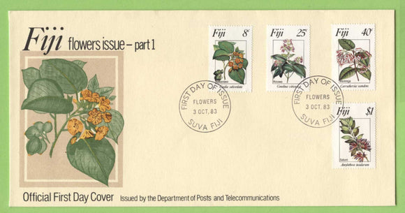 Fiji 1983 Flowers (1st series) set on First Day Cover